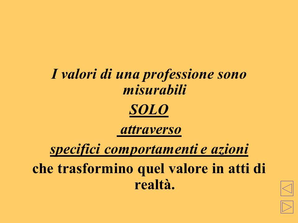 I valori di una professione sono misurabili SOLO attraverso