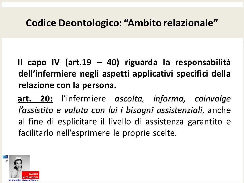 Codice Deontologico: Ambito relazionale