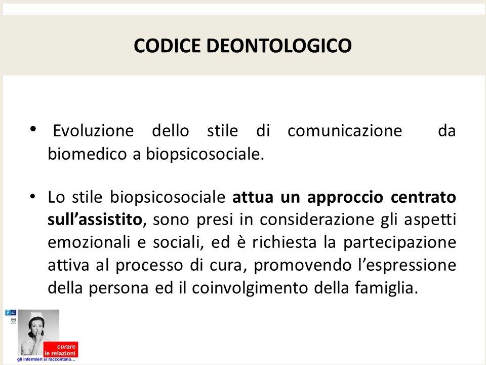 CODICE DEONTOLOGICO Evoluzione dello stile di comunicazione da biomedico a biopsicosociale.
