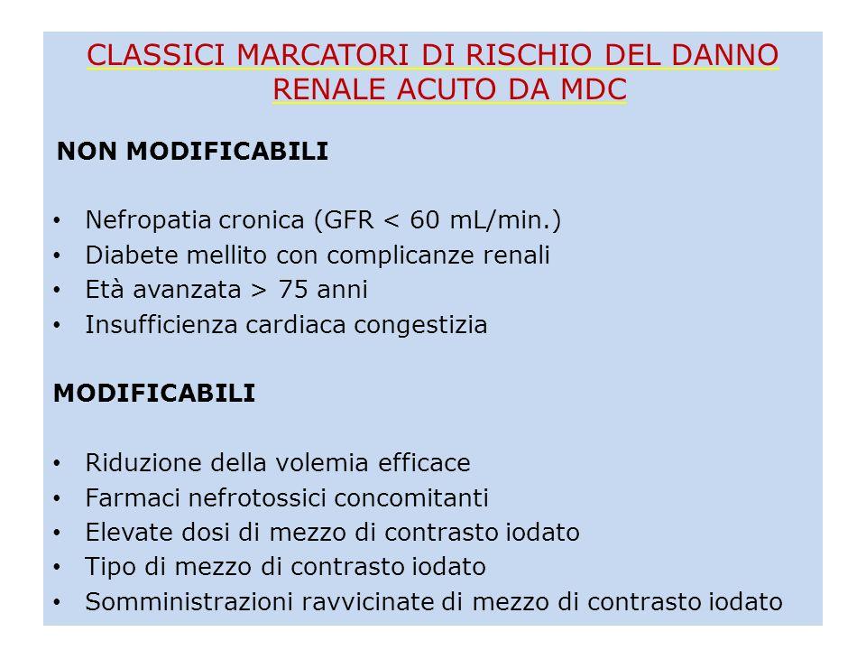 CLASSICI MARCATORI DI RISCHIO DEL DANNO RENALE ACUTO DA MDC