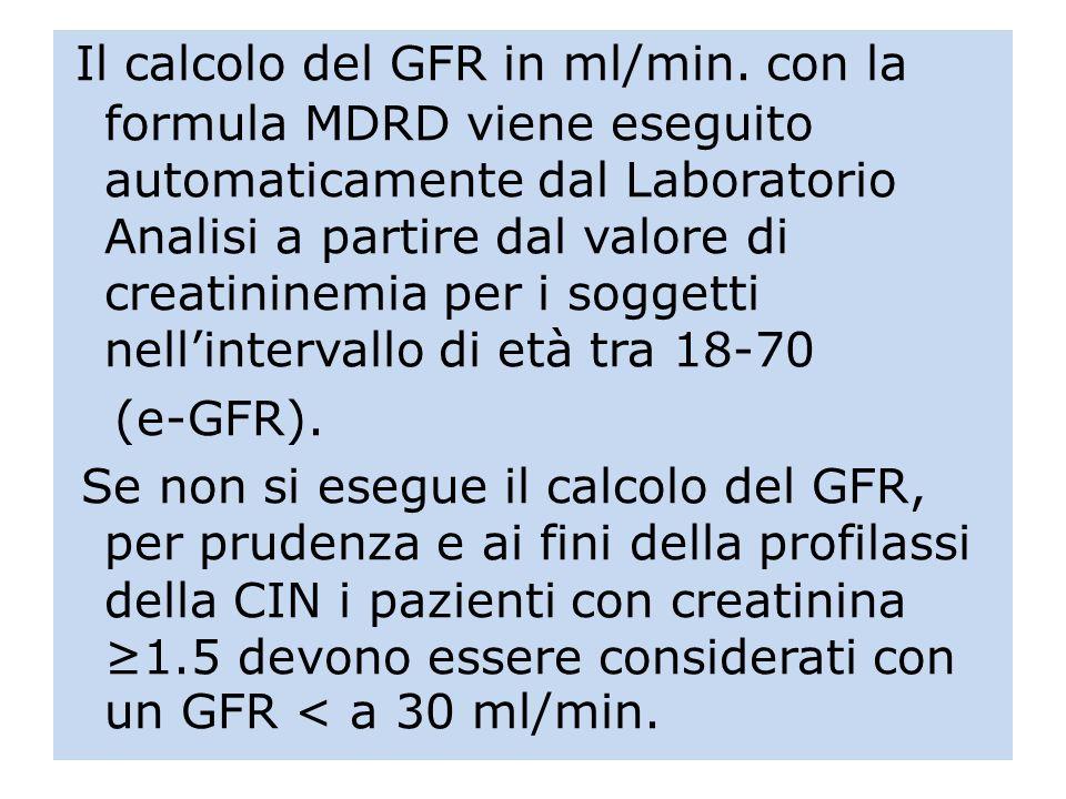 Il calcolo del GFR in ml/min