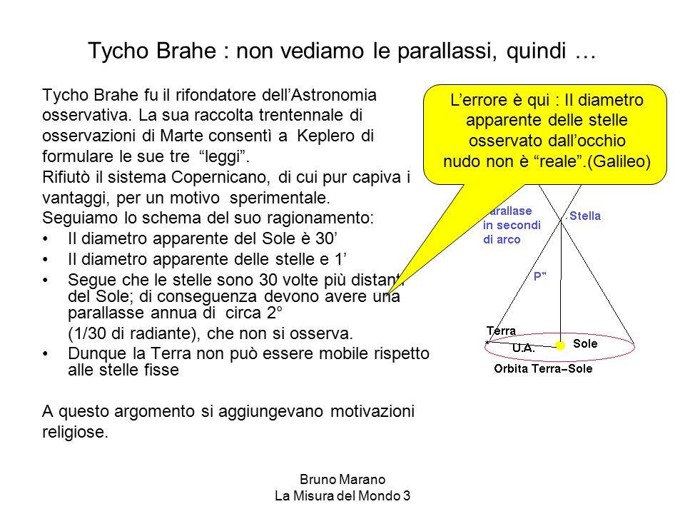 Tycho Brahe : non vediamo le parallassi, quindi …