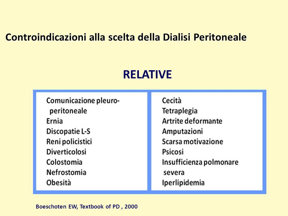RELATIVE Controindicazioni alla scelta della Dialisi Peritoneale