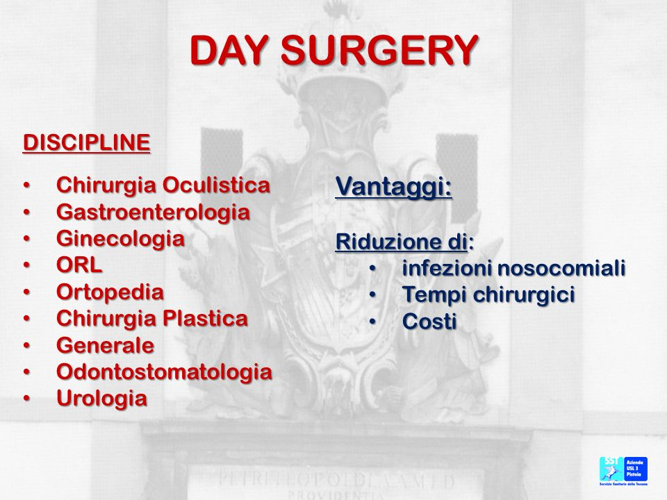 DAY SURGERY Vantaggi: DISCIPLINE Chirurgia Oculistica