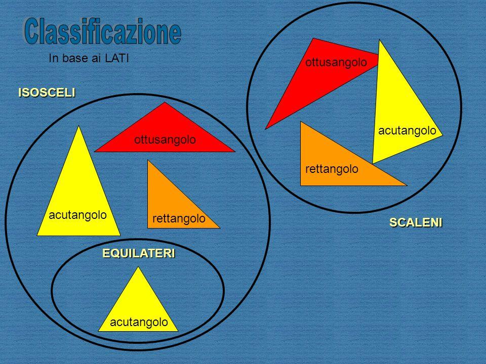 Classificazione In base ai LATI ottusangolo ISOSCELI ottusangolo