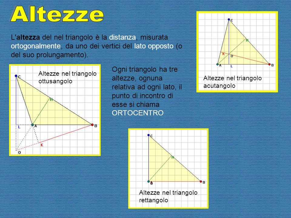 Altezze L altezza del nel triangolo è la distanza, misurata ortogonalmente, da uno dei vertici del lato opposto (o del suo prolungamento).