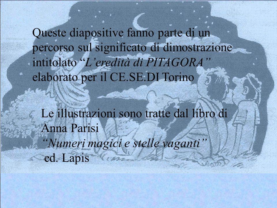 Queste diapositive fanno parte di un percorso sul significato di dimostrazione intitolato L'eredità di PITAGORA elaborato per il CE.SE.DI Torino