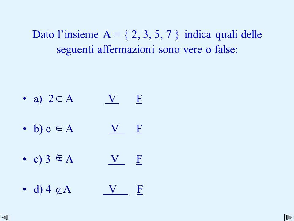 Dato l'insieme A = { 2, 3, 5, 7 } indica quali delle seguenti affermazioni sono vere o false: