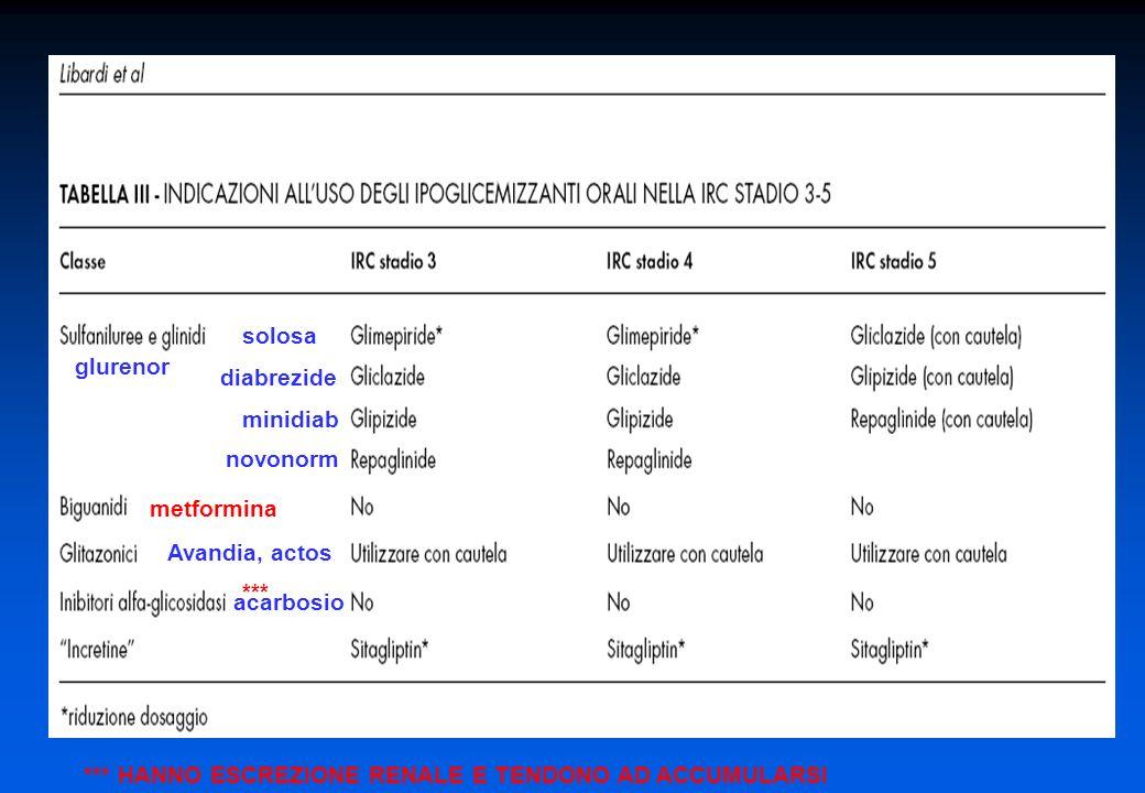 solosa glurenor. diabrezide. minidiab. novonorm. metformina. Avandia, actos. *** acarbosio.