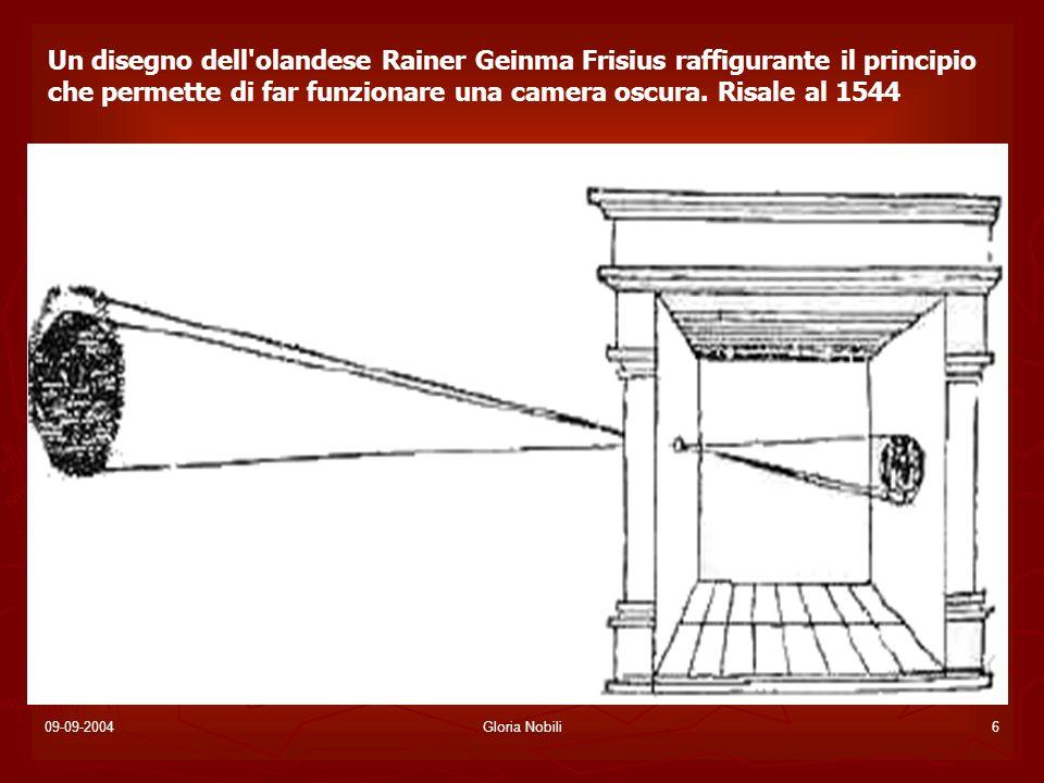 Un disegno dell olandese Rainer Geinma Frisius raffigurante il principio che permette di far funzionare una camera oscura. Risale al 1544