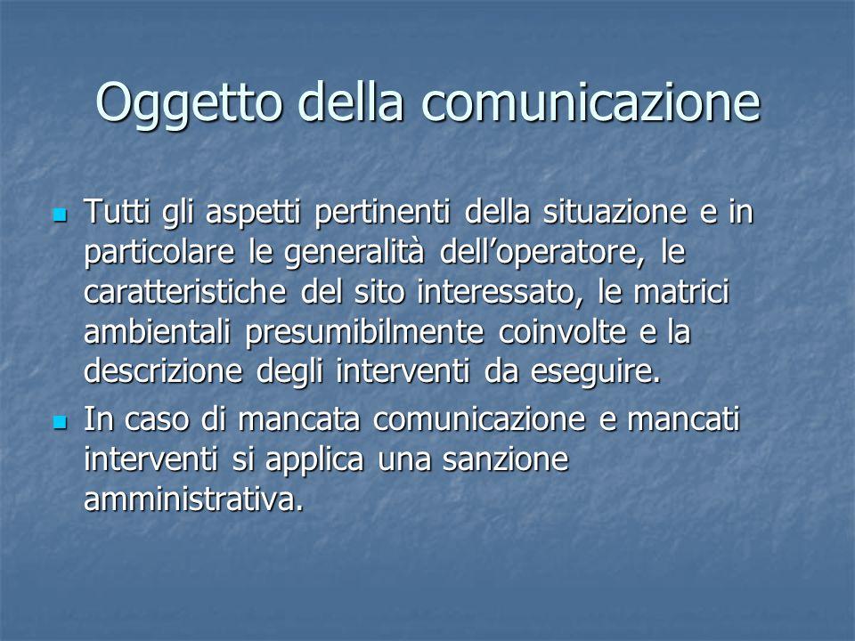 Oggetto della comunicazione