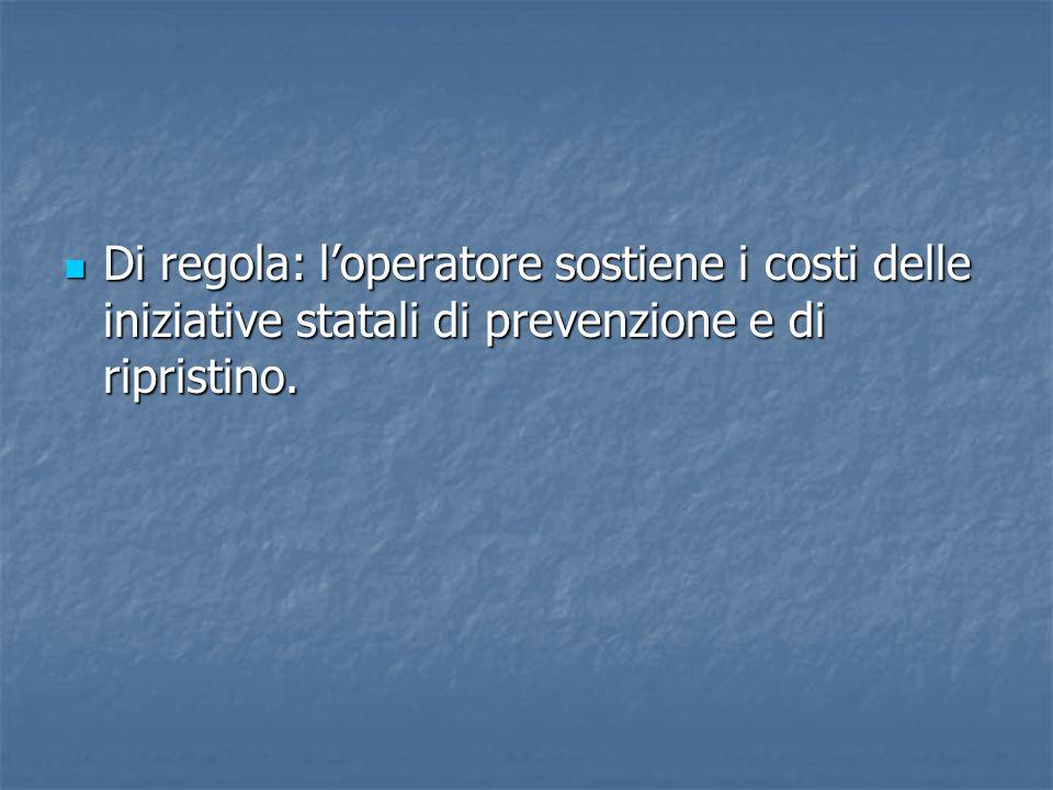 Di regola: l'operatore sostiene i costi delle iniziative statali di prevenzione e di ripristino.