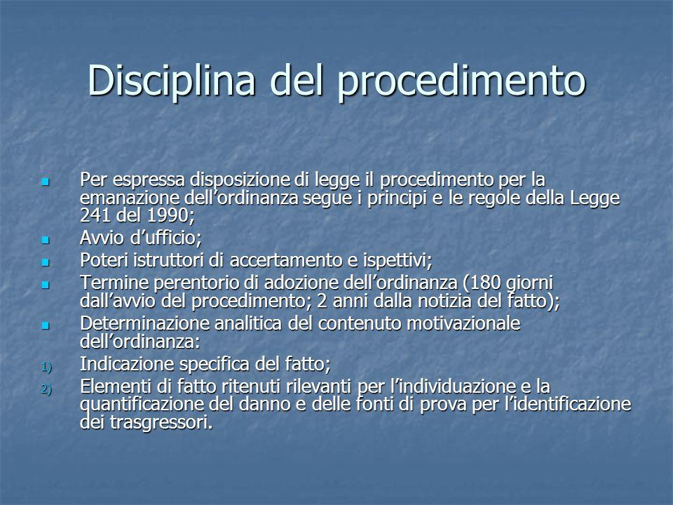 Disciplina del procedimento