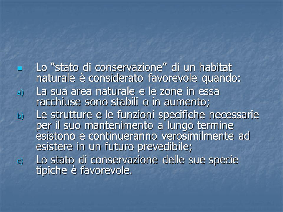 Lo stato di conservazione di un habitat naturale è considerato favorevole quando: