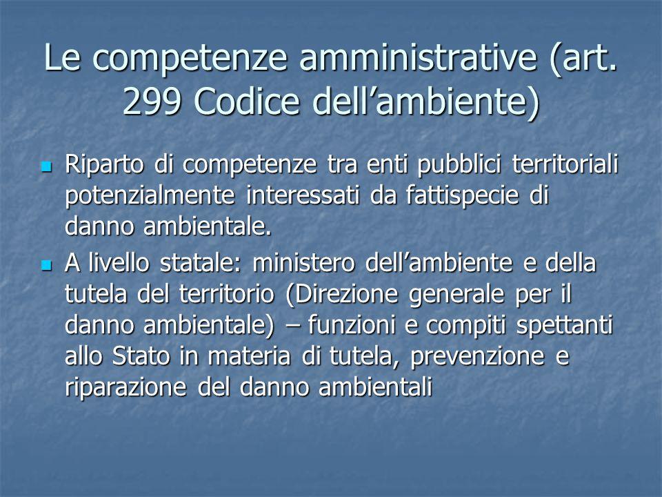Le competenze amministrative (art. 299 Codice dell'ambiente)