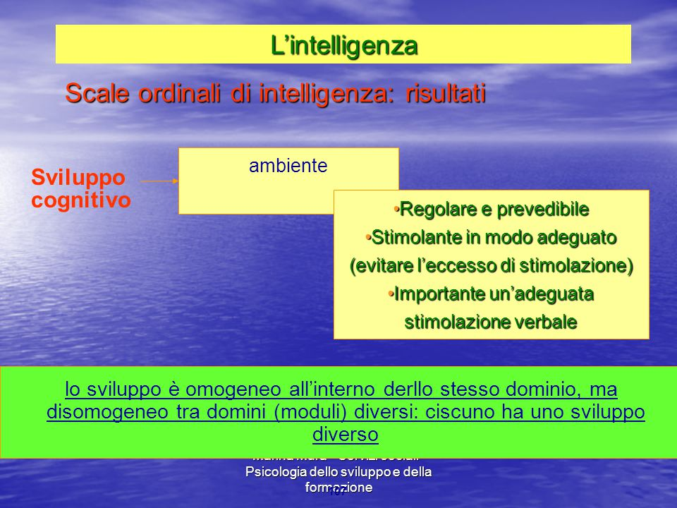 Scale ordinali di intelligenza: risultati
