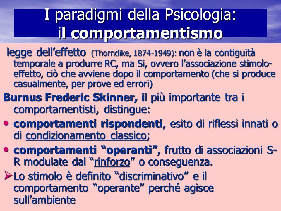 I paradigmi della Psicologia: il comportamentismo