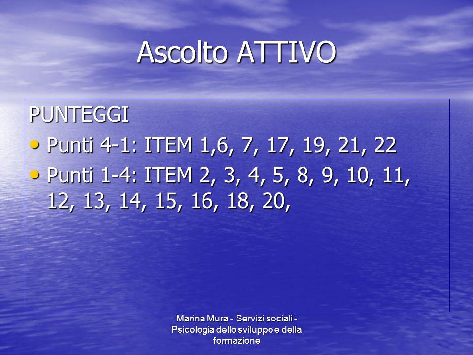 Ascolto ATTIVO PUNTEGGI Punti 4-1: ITEM 1,6, 7, 17, 19, 21, 22