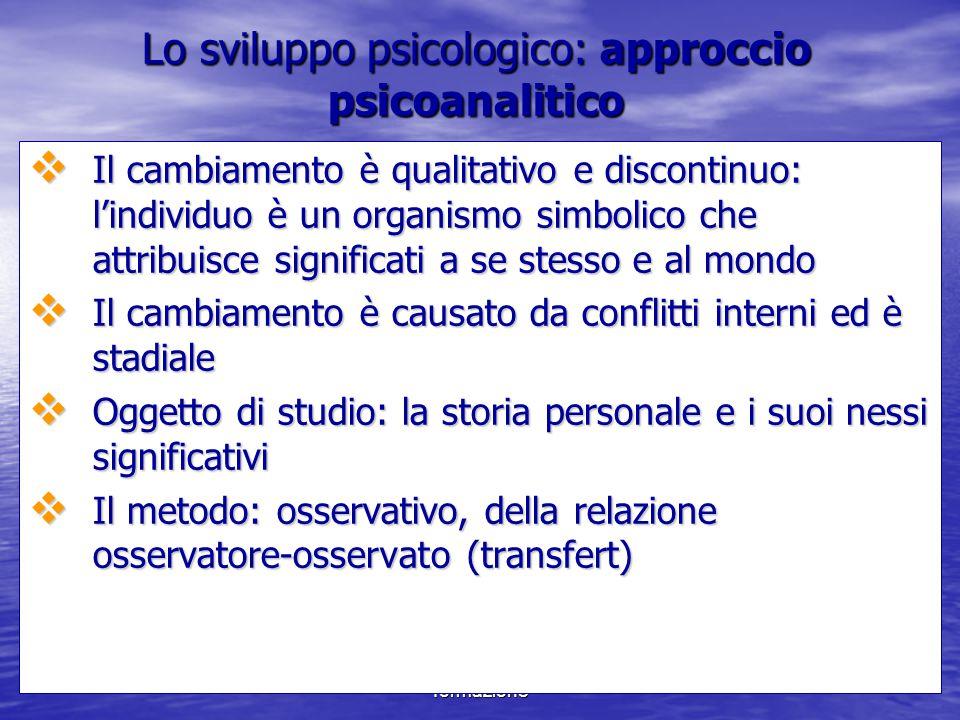 Lo sviluppo psicologico: approccio psicoanalitico