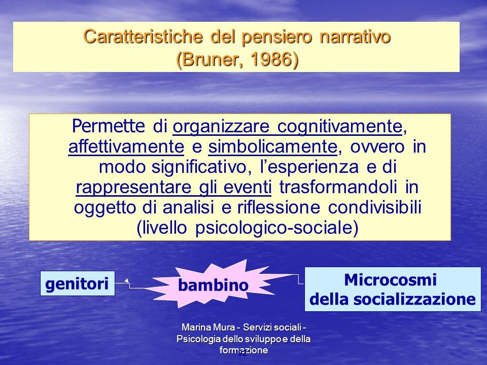 Caratteristiche del pensiero narrativo (Bruner, 1986)