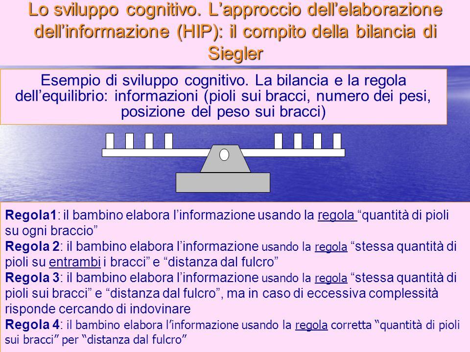 Lo sviluppo cognitivo. L'approccio dell'elaborazione dell'informazione (HIP): il compito della bilancia di Siegler