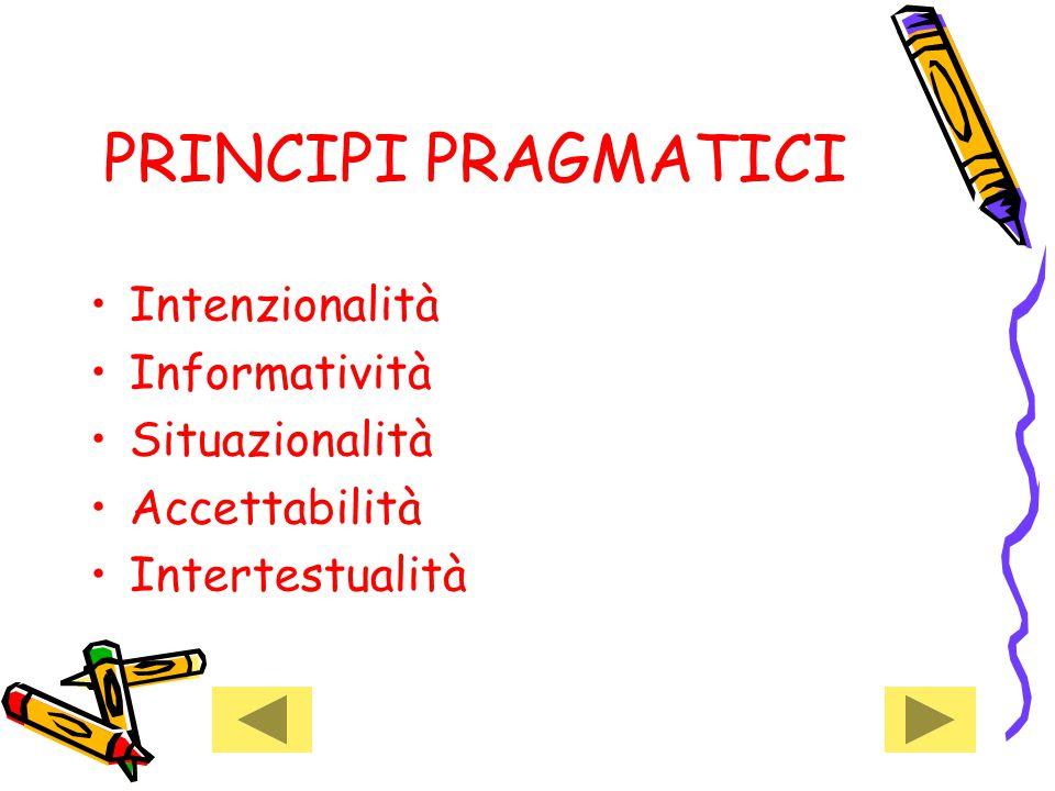 PRINCIPI PRAGMATICI Intenzionalità Informatività Situazionalità
