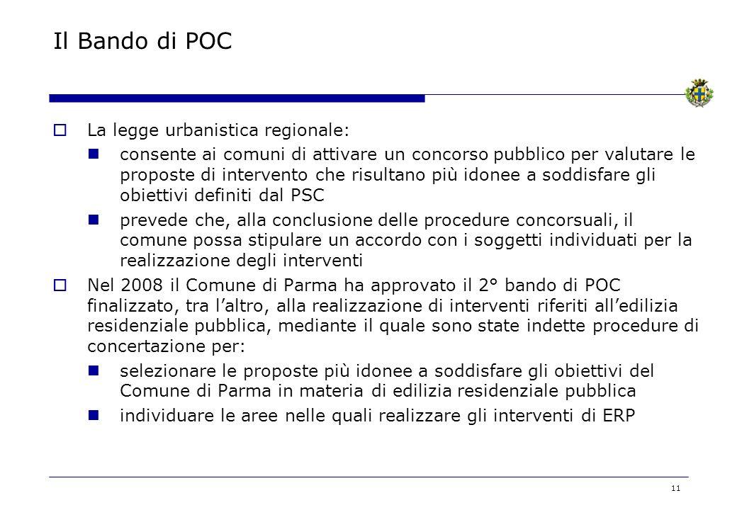 Il Bando di POC La legge urbanistica regionale: