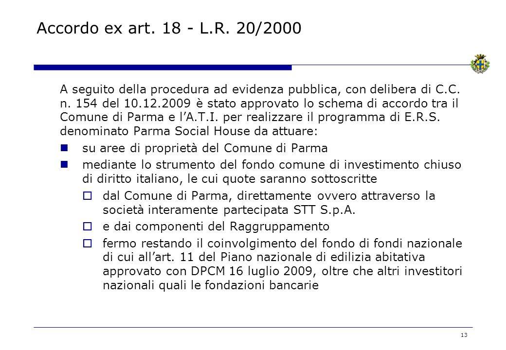 Accordo ex art. 18 - L.R. 20/2000