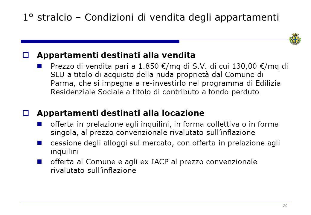 1° stralcio – Condizioni di vendita degli appartamenti