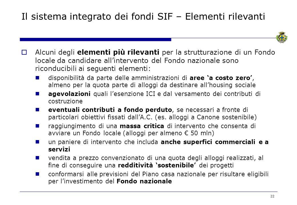 Il sistema integrato dei fondi SIF – Elementi rilevanti