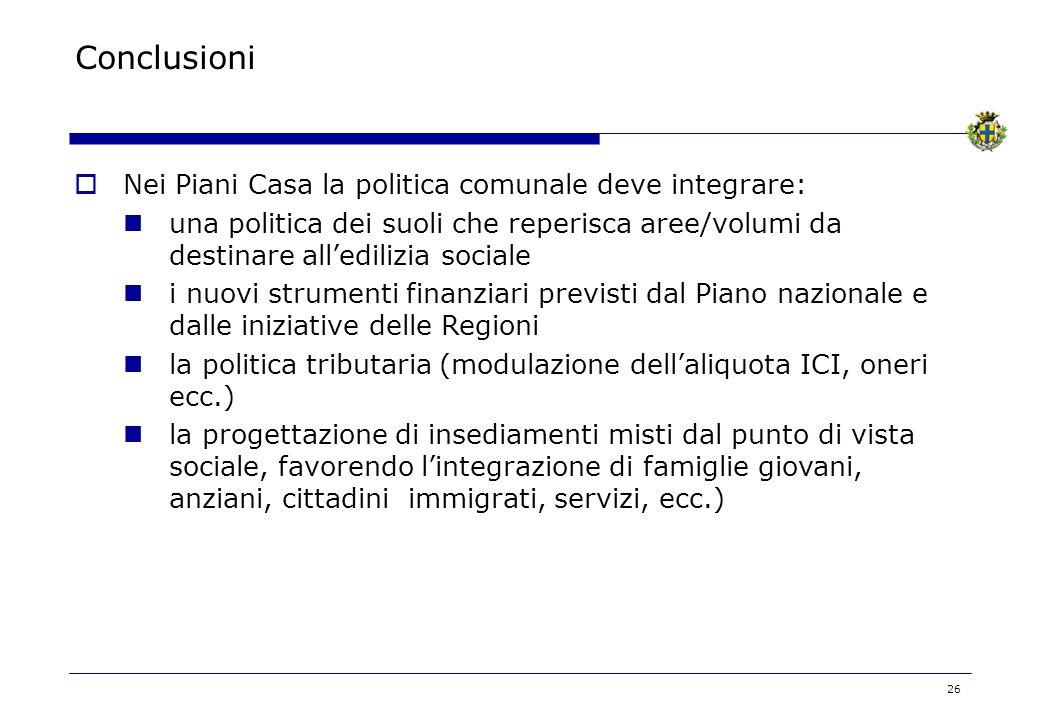 Conclusioni Nei Piani Casa la politica comunale deve integrare: