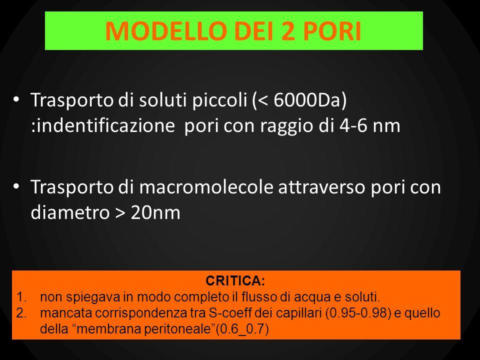 MODELLO DEI 2 PORITrasporto di soluti piccoli (< 6000Da) :indentificazione pori con raggio di 4-6 nm.