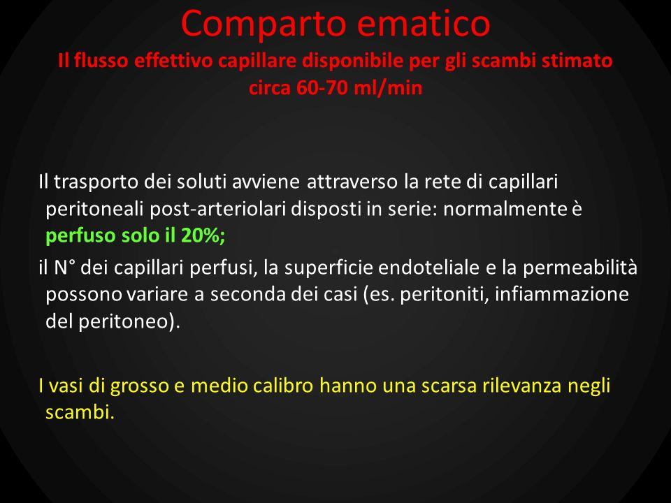 Comparto ematico Il flusso effettivo capillare disponibile per gli scambi stimato circa 60-70 ml/min