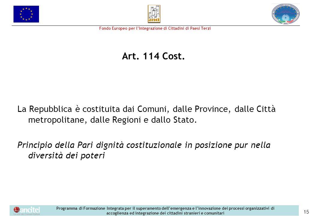 Art. 114 Cost. La Repubblica è costituita dai Comuni, dalle Province, dalle Città metropolitane, dalle Regioni e dallo Stato.