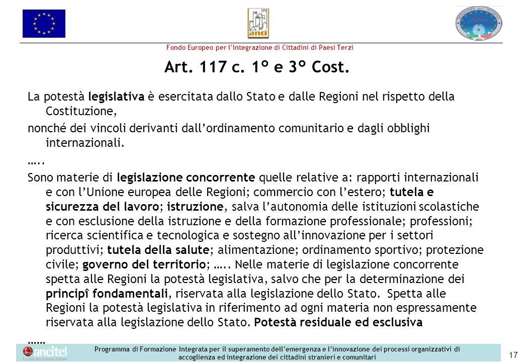 Art. 117 c. 1° e 3° Cost.