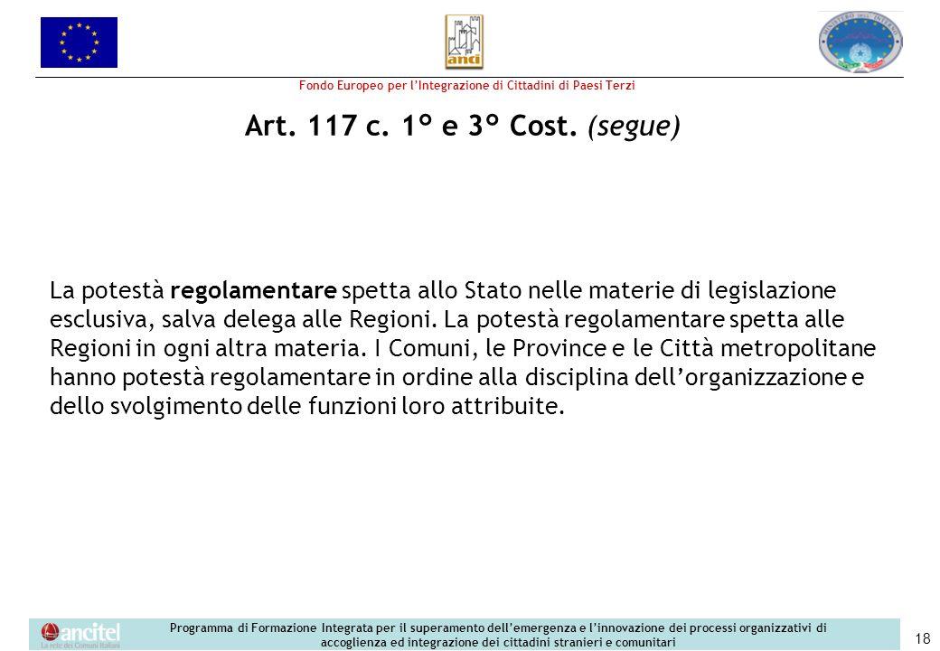Art. 117 c. 1° e 3° Cost. (segue)