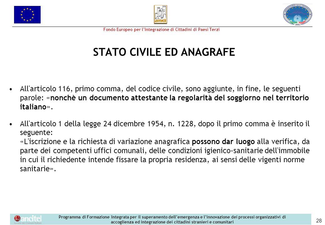 STATO CIVILE ED ANAGRAFE