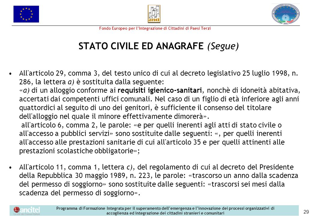STATO CIVILE ED ANAGRAFE (Segue)