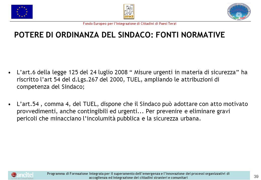 POTERE DI ORDINANZA DEL SINDACO: FONTI NORMATIVE
