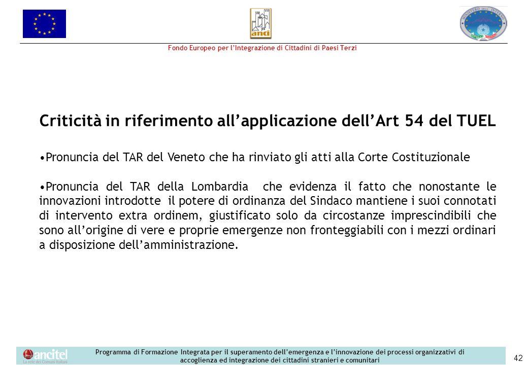 Criticità in riferimento all'applicazione dell'Art 54 del TUEL