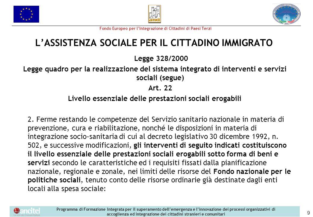 L'ASSISTENZA SOCIALE PER IL CITTADINO IMMIGRATO