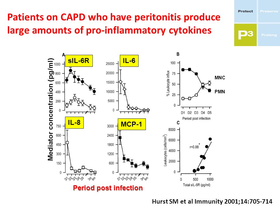 Patients on CAPD who have peritonitis produce