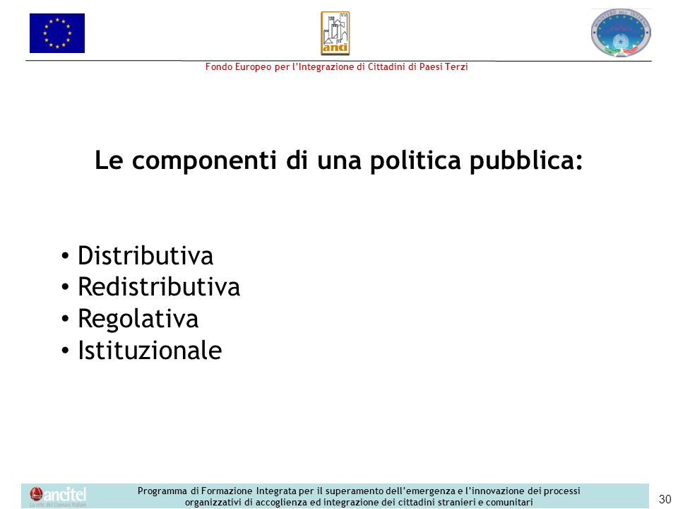 Le componenti di una politica pubblica: