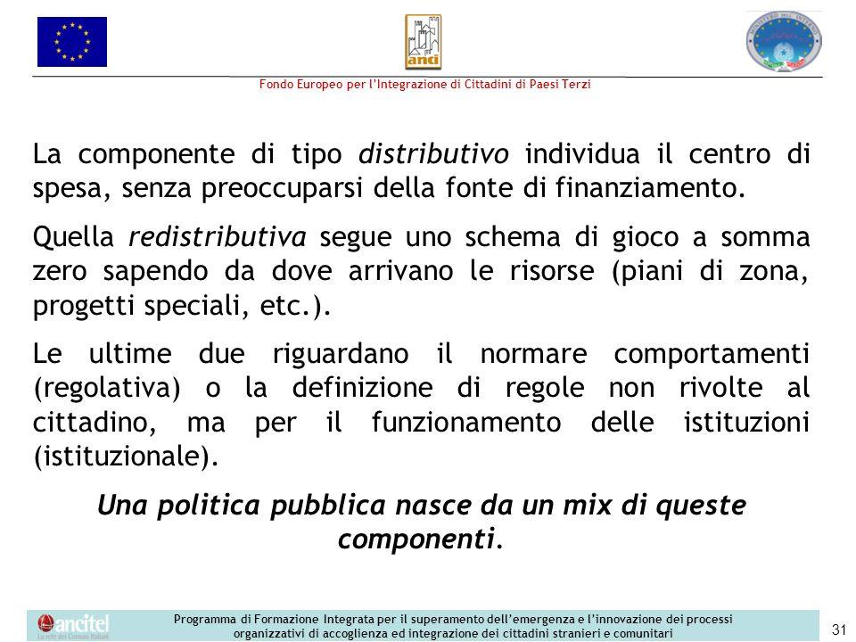 Una politica pubblica nasce da un mix di queste componenti.