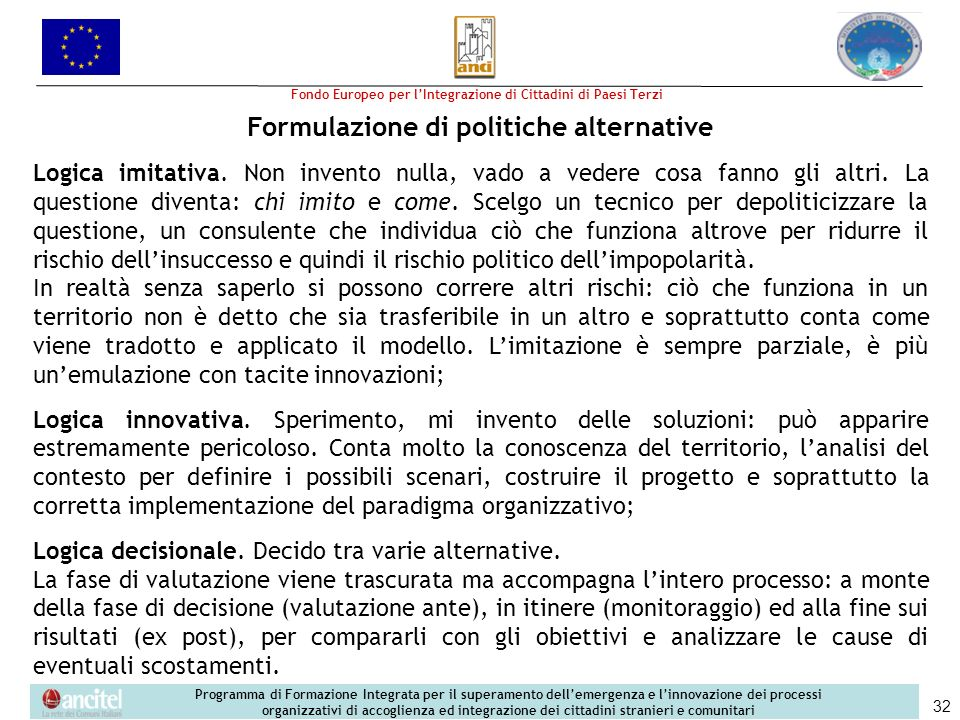 Formulazione di politiche alternative