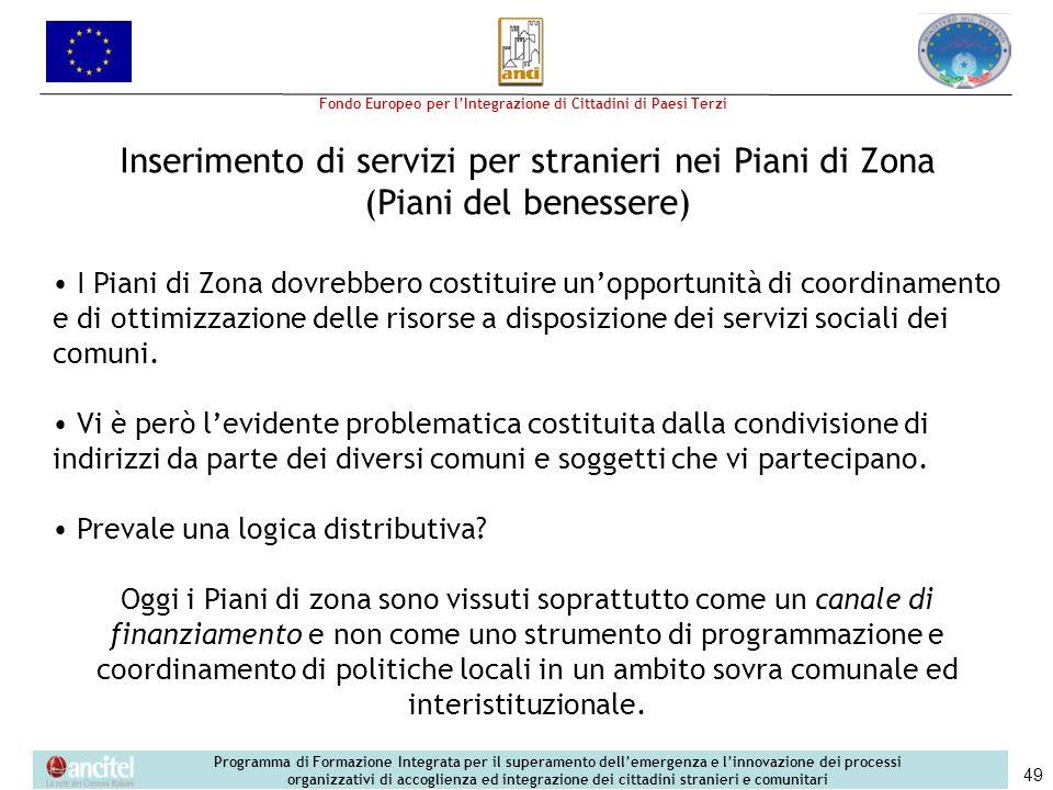 Inserimento di servizi per stranieri nei Piani di Zona