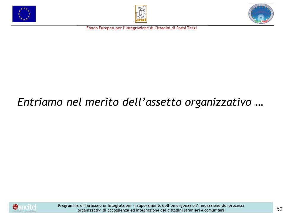 Entriamo nel merito dell'assetto organizzativo …