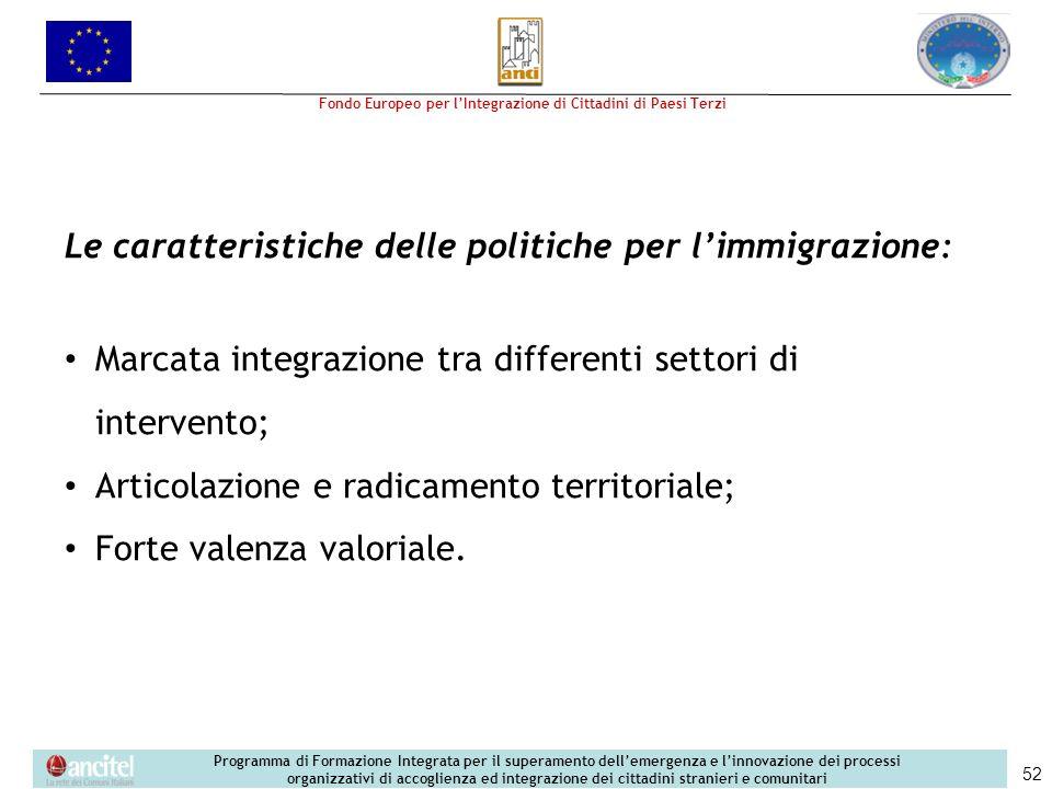 Le caratteristiche delle politiche per l'immigrazione: