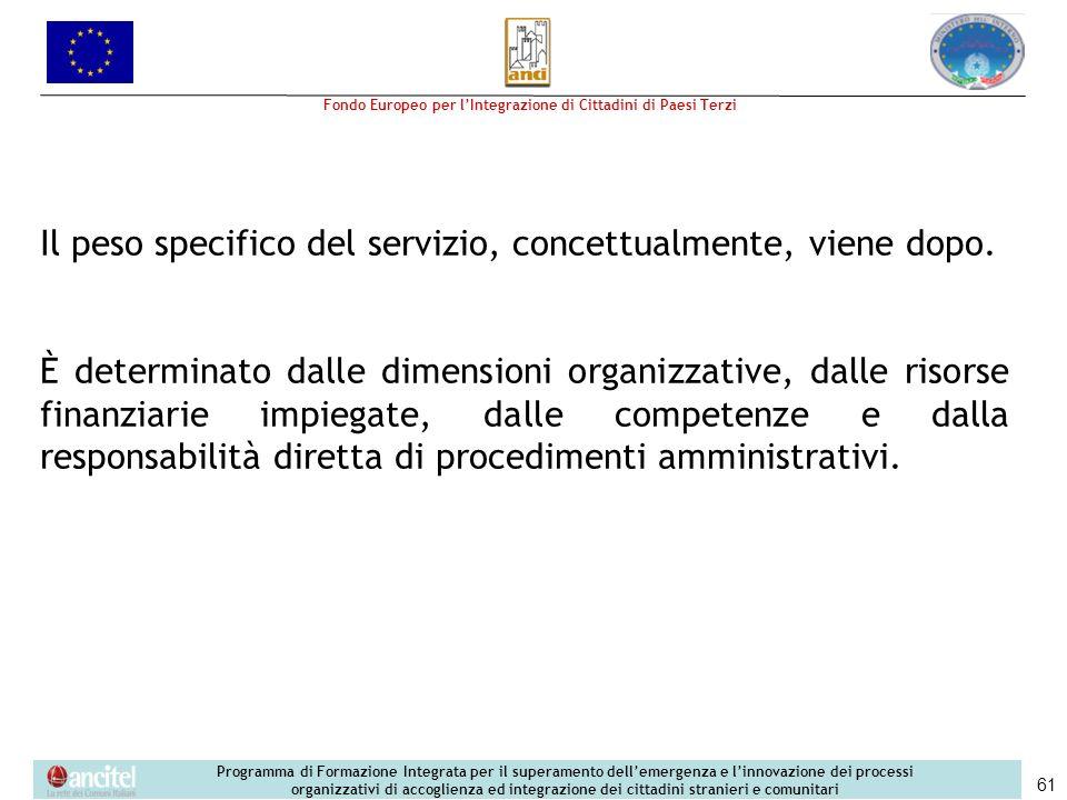 Il peso specifico del servizio, concettualmente, viene dopo.