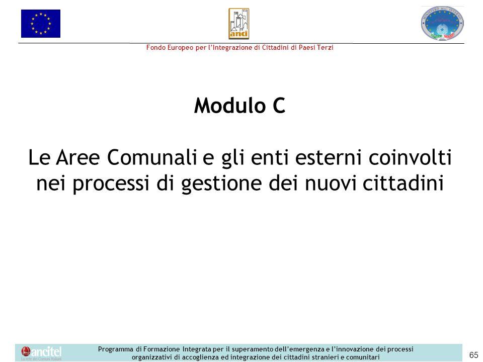 Modulo C Le Aree Comunali e gli enti esterni coinvolti nei processi di gestione dei nuovi cittadini.